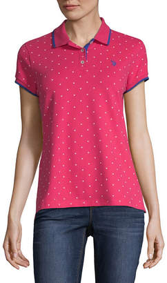 U.S. Polo Assn. Short Sleeve Polka Dot Knit Polo Shirt - Juniors