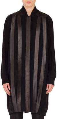 Akris Button-Front Long-Sleeve Leather-Stripe Cashmere Long Cardigan