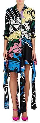 J.W.Anderson WOMEN'S ABSTRACT-PRINT COTTON-SILK SHIRTDRESS - BLACK FOXGLOVE SIZE 8 UK