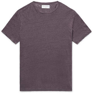Officine Generale Melange Linen T-shirt - Purple