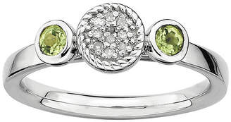 JCPenney FINE JEWELRY Personally Stackable Double Peridot & Diamond-Accent Ring