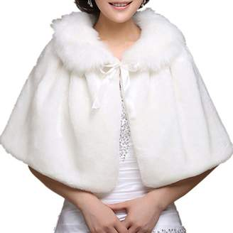 Chickle Women's Fur Collar Lace Up Cape Cloak Wedding Shawl White