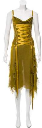 Versace Lace-Up Corset Dress