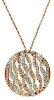 Effy 14 Kt. Gold Tri Color Diamond Pendant Necklace