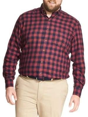 Izod Big Tall Plaid Flannel Button-Down Shirt