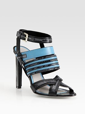 Jason Wu Snake-Embossed Leather Multi-Strap Sandals
