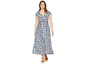 Chaps Short Sleeve Batik Cotton Jersey Maxi Dress