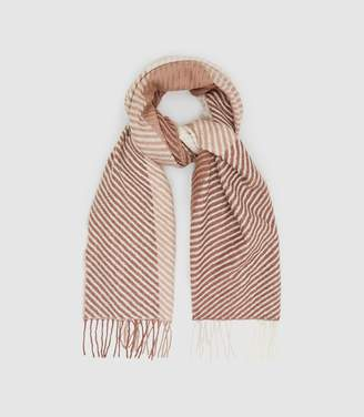 Reiss Bailey - Lambswool Checked Scarf in Rose