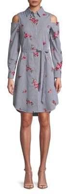 Calvin Klein Stripe Cold-Shoulder Shirtdress