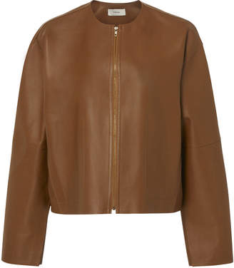 Vince Cropped Collarless Leather Jacket
