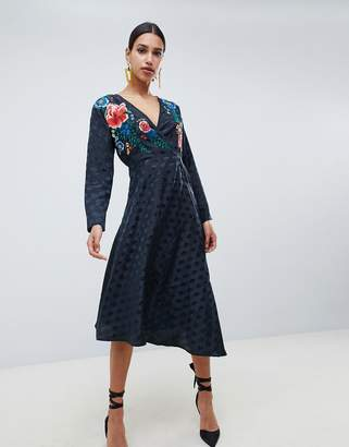 Asos Design DESIGN jacquard wrap midi dress with long sleeves and embroidery