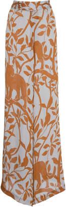 Johanna Ortiz Coffee Introspection Printed High-Rise Crepe De Chine Pants
