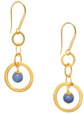 The Branch Jewellery 18ct Gold Plated Blue Quartz Chain Drop Earring