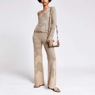 River Island Womens Gold crochet wide leg trousers