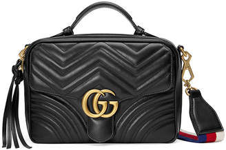 Gucci GG Marmont Small Chevron Quilted Leather Top-Handle Camera Bag with Web Strap