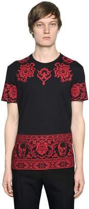 Alexander McQueen Skull & Floral Cotton Jersey T-Shirt