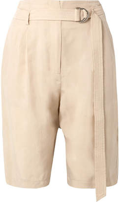 Sally LaPointe Belted Crepe Shorts - Beige
