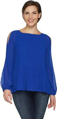Susan Graver Pleated Woven Cold Shoulder Top