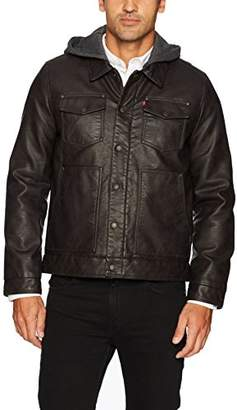 Levi's Men's Buffed Cow Faux Leather Hooded Trucker Jacket