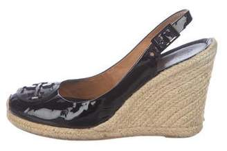 Tory Burch Patent Leather Espadrille Wedges