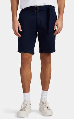 Eleventy Men's Cotton Twill Belted Bermuda Shorts - Navy