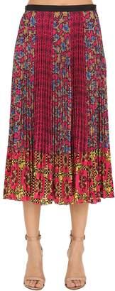 RED Valentino Plisse Printed Crepe De Chine Midi Skirt
