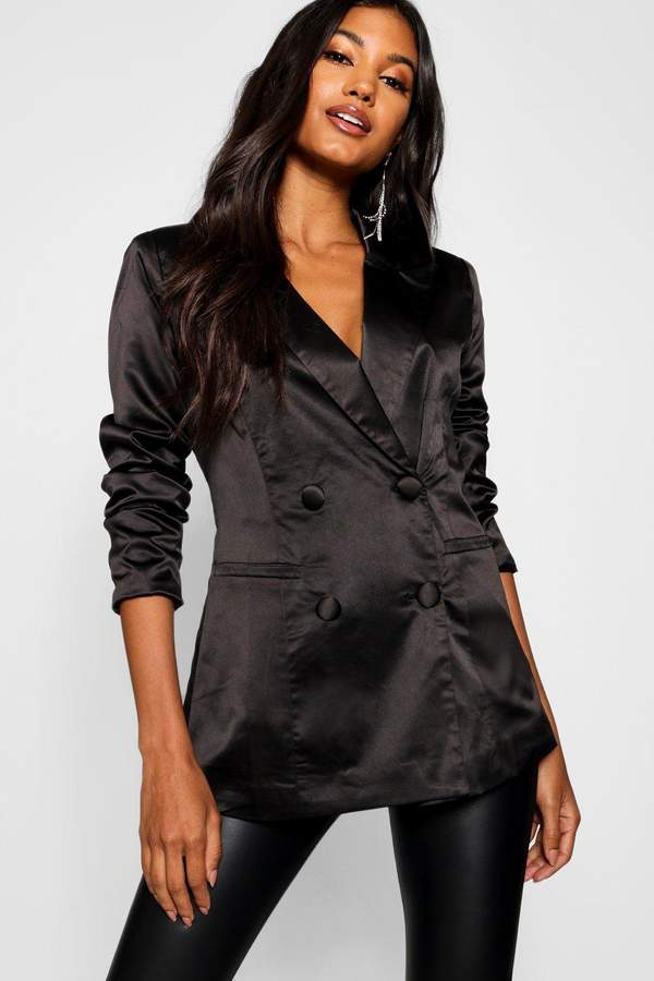 Satin Double Breasted Blazer