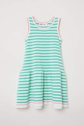 H&M Fine-knit Dress - White/green striped - Kids