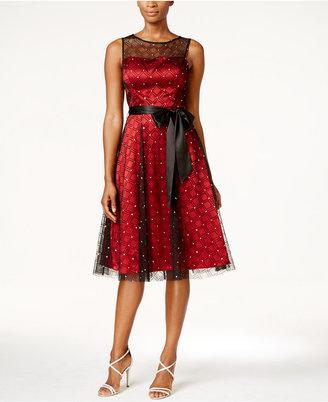 Jessica Howard Illusion Sash Fit & Flare Dress $129 thestylecure.com