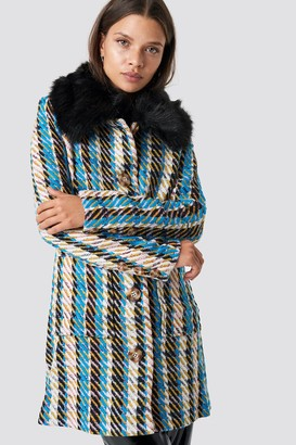 Glamorous Fluffy Collar Coat Blue/Yellow