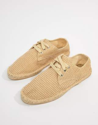 Asos Design Lace Up Espadrilles In Stone Weave