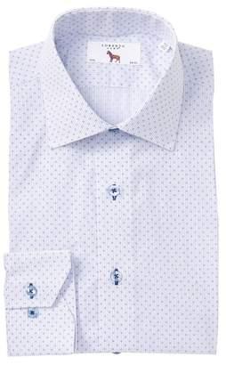 Lorenzo Uomo Stripe Floral Print Regular Fit Dress Shirt