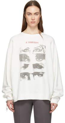 R 13 White Oversized 13 Eyes Sweatshirt