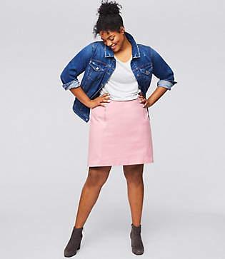LOFT Plus Double Zip Bi-Stretch Skirt
