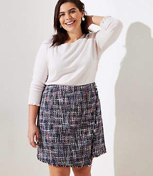 LOFT Plus Tweed Wrap Skirt