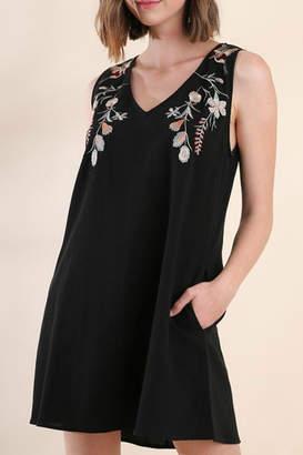 Umgee USA Black Embroidered Dress