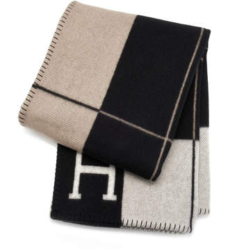 Hermes Heritage Auctions Special Collections Black and Ecru Wool and Cashmere Avalon Blanket