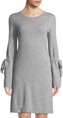 Neiman Marcus Cashmere Chiffon-Tie Bell-Sleeve Dress