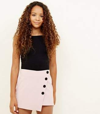New Look Girls Pale Pink Button Wrap Front Skort