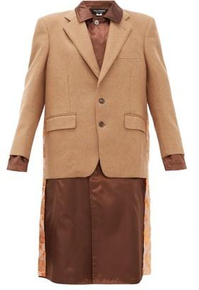 Junya Watanabe Embroidered Satin Panel Wool Blend Blazer Coat - Womens - Brown Multi