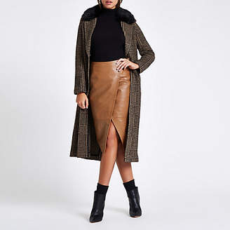 River Island Brown leather wrap pencil skirt