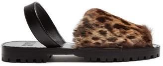Goya - Leopard Print Rabbit Fur Slingback Sandals - Womens - Leopard