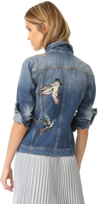 RED Valentino Embroidered Birds Denim Jacket $950 thestylecure.com