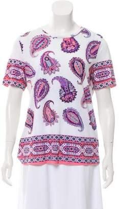 Tory Burch Paisley-Printed Short Sleeve T Shirt