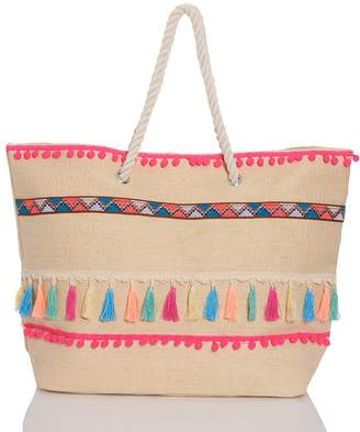 Quiz Multi Neon Pom Tassel Tote Bag