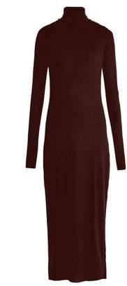 Raey - Roll Neck Ribbed Fine Knit Cashmere Dress - Womens - Burgundy
