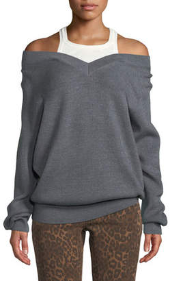 Alexander Wang Ribbed Off-Shoulder Wool Sweater with Tank