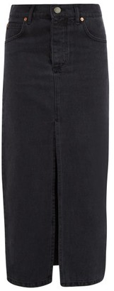 Raey - Slit Front Denim Maxi Pencil Skirt - Womens - Black