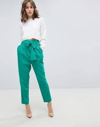 Asos DESIGN Tailored Paperbag PANTS in Pop
