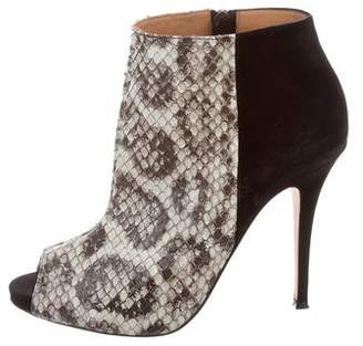 Alexa Wagner Suede-Accented Python Ankle Boots